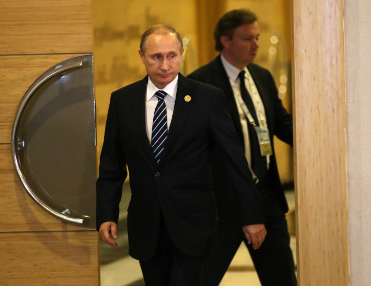 Russian President Vladimir Putin arrives to make a speech following the G20 Antalya Summit on Nov. 16, 2015 in Antalya, Turkey. (Photo by Sasha Mordovets/Getty)