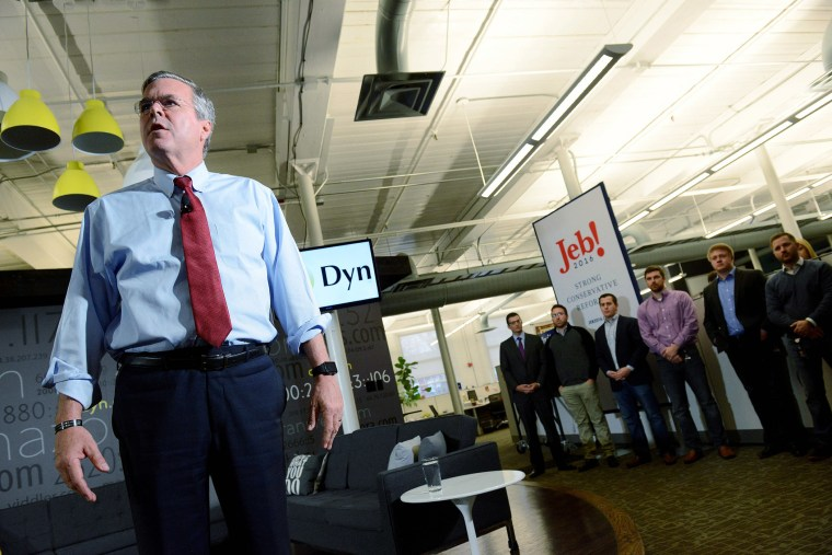 Republican Presidential candidate Jeb Bush speaks at Dynamic Network Services Incorporated, Nov. 19, 2015 in Manchester, N.H. (Photo by Darren McCollester/Getty)