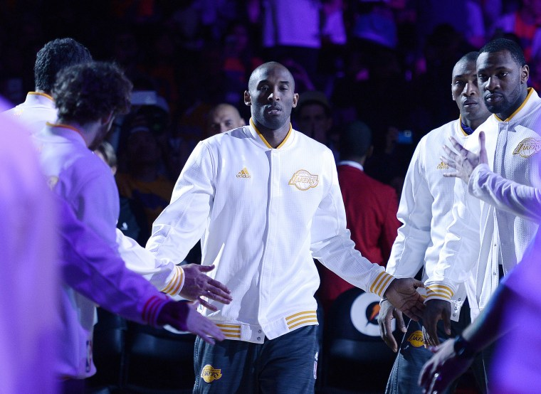 Kobe Bryant, of the Los Angeles Lakers, is introduced at start of the basketball game against the Portland Trail Blazers at Staples Center, Nov. 22, 2015 in Los Angeles, Calif. (Photo by Kevork Djansezian/Getty)