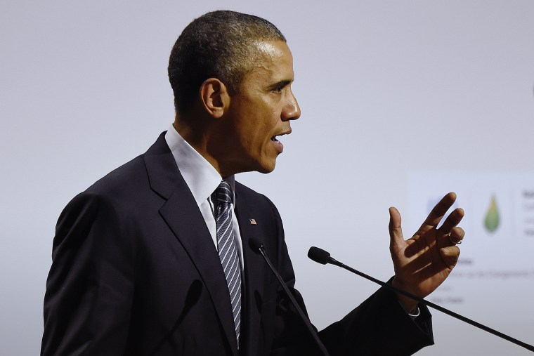 U.S. President Barack Obama delivers a speech at the COP21, United Nations Climate Change Conference, in Le Bourget, outside Paris, Nov. 30, 2015. (Photo by Eric Feferberg/Pool/AP)