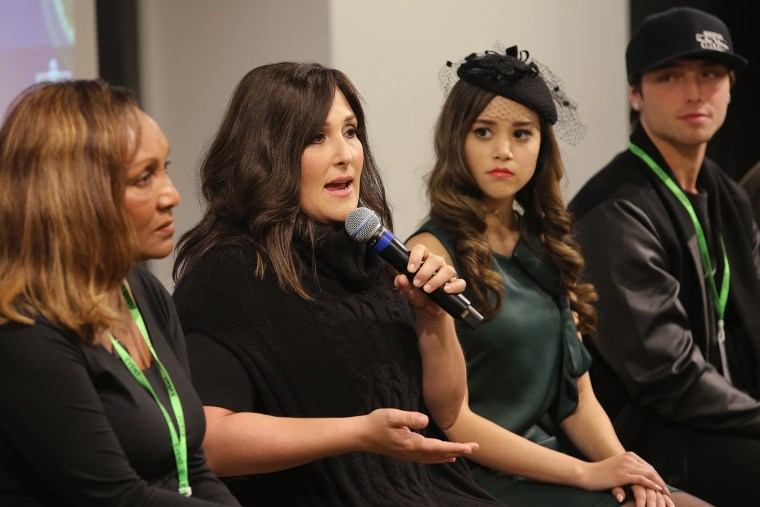 From left, Marie Da Silva, Ricki Lake, Megan Nicole and Wesley Stromberg speak onstage at the launch of #TREATMENTFORALL at the Facebook Office on Nov. 30, 2015 in New York City. (Photo by Neilson Barnard/Getty)