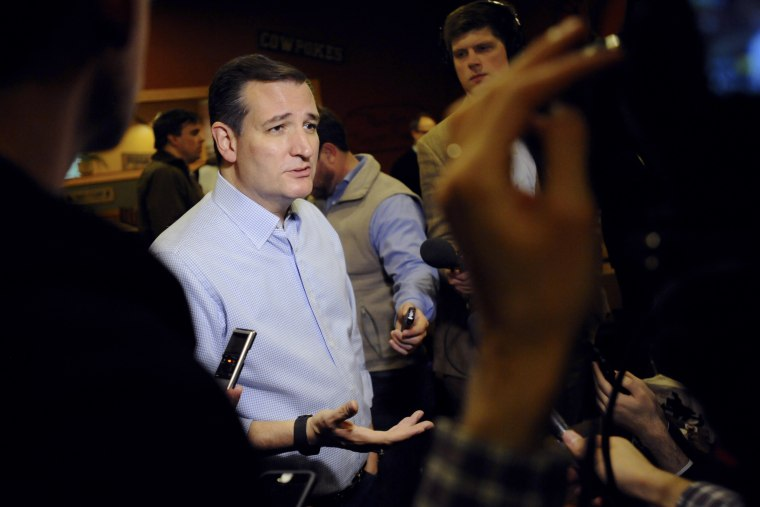 Republican presidential candidate Ted Cruz speaks with the media after a campaign stop in Newton, Iowa on Nov. 29, 2015. (Photo by Mark Kauzlarich/Reuters)