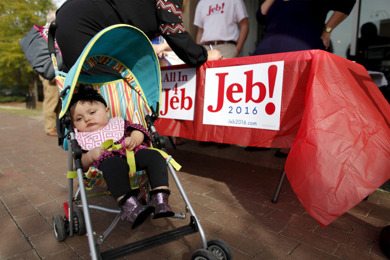 """Eight-month-old Mary Elizabeth Parsons is wheeled into a campaign """"meet and greet"""" for U.S. Republican presidential candidate Jeb Bush at Wholly Smokin BBQ, Florence, S.C., Nov. 17, 2015. (Photo by Randall Hill/Reuters)"""