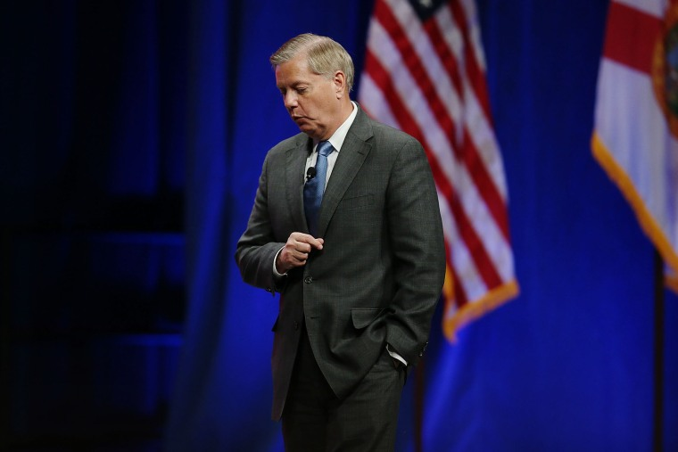 Republican presidential candidate Sen. Lindsey Graham (R-SC) speaks during the Sunshine Summit conference being held at the Rosen Shingle Creek on Nov. 13, 2015 in Orlando, Fla. (Photo by Joe Raedle/Getty)