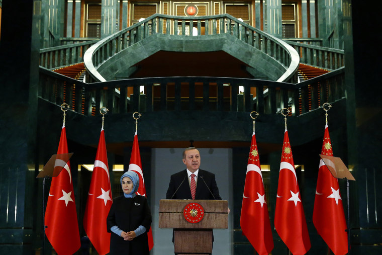 Turkish President Recep Tayyip Erdogan speaks during a meeting at the presidential palace in Ankara, Turkey, Nov. 24, 2015. (Photo by Kayhan Ozer/Pool/AP)