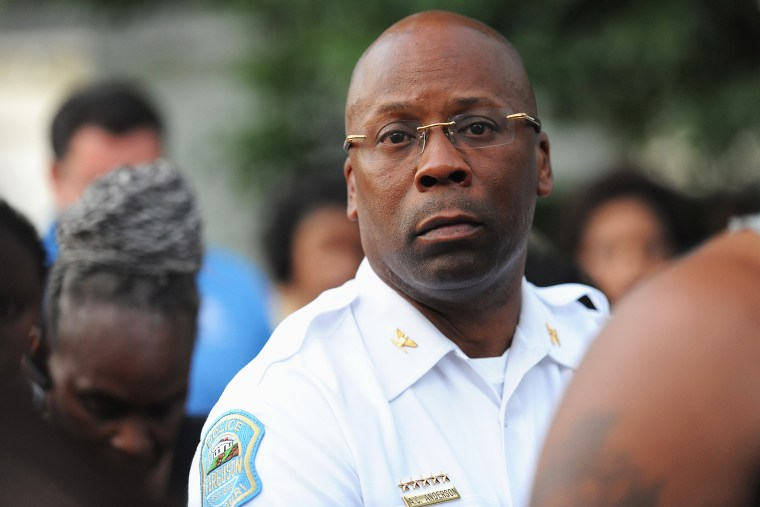 Ferguson Police Chief Andre Anderson watches on during an event on Aug. 20, 2015 in Ferguson, Mo. (Photo by Michael B. Thomas/Getty)