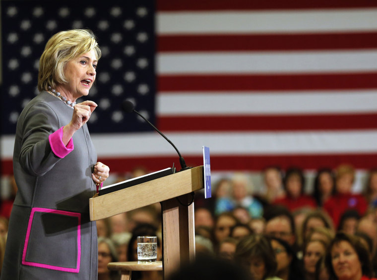 Democratic presidential candidate Hillary Clinton speaks to students and faculty at the Southern New Hampshire University, Dec. 3, 2015, in Hooksett, N.H. (Photo by Jim Cole/AP)