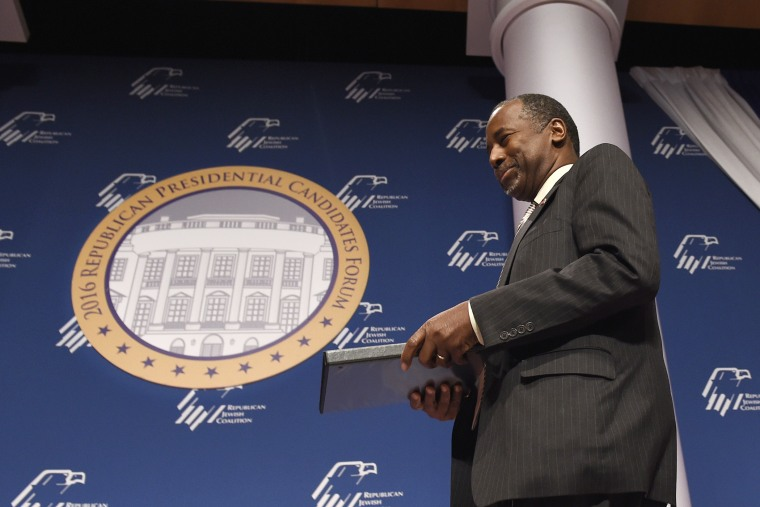 Republican presidential candidate Ben Carson arrives to speak at the Republican Jewish Coalition Presidential Forum in Washington, Dec. 3, 2015. (Photo by Susan Walsh/AP)