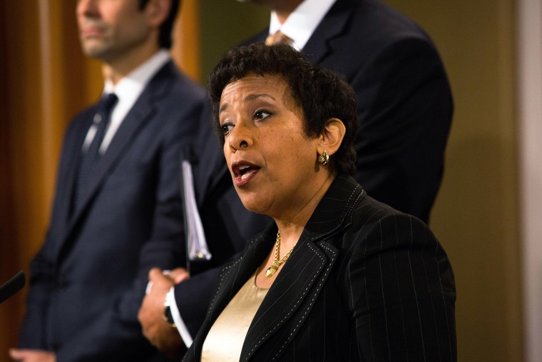 United States Attorney General Loretta E. Lynch holds a press conference in relation and enforcement action relating to FIFA and the arrests of officials Alfredo Hawit and Juan Ángel Napout, Dec. 3, 2015. (Photo by Keith Lane/Getty)
