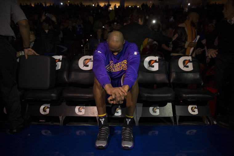 Kobe Bryant of the Los Angeles Lakers sits on the bench prior to the game against the Philadelphia 76ers on Dec. 1, 2015 at the Wells Fargo Center in Philadelphia, Penn. (Photo by Mitchell Leff/Getty)