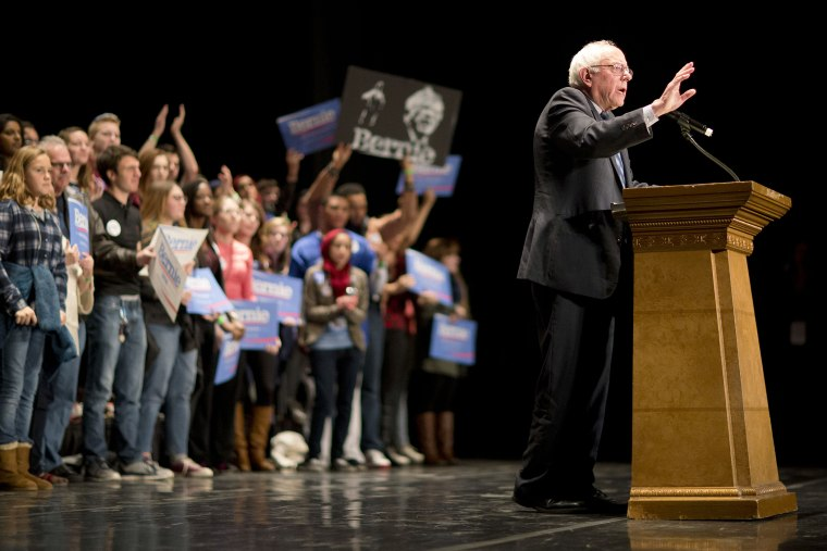 Democratic presidential candidate Sen. Bernie Sanders, I-Vt., speaks at a campaign event at the Fox Theatre, Nov. 23, 2015, in Atlanta. (Photo by David Goldman/AP)