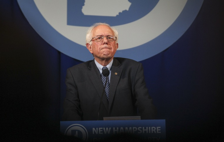 Democratic presidential candidate Sen. Bernie Sanders, I-Vt., pauses while speaking at the at New Hampshire Democrats party's annual dinner in Manchester, N.H., Nov. 29, 2015. (Photo by Cheryl Senter/AP)