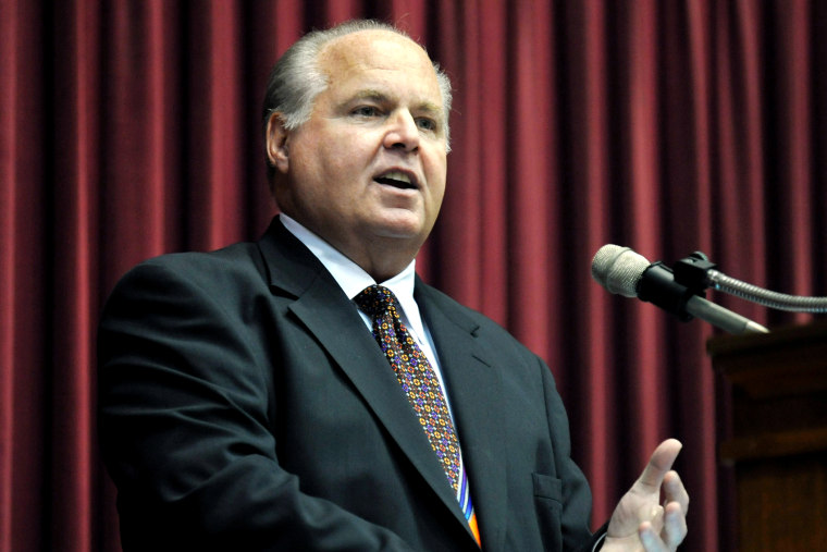 Conservative commentator Rush Limbaugh speaks in Jefferson City, Mo. (Photo by Julie Smith/AP)