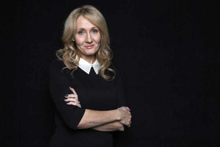"""This Oct. 16, 2012 photo shows author J.K. Rowling at an appearance to promote her book \""""The Casual Vacancy,\"""" at The David H. Koch Theater in New York. (Photo by Dan Hallman/Invision/AP)"""