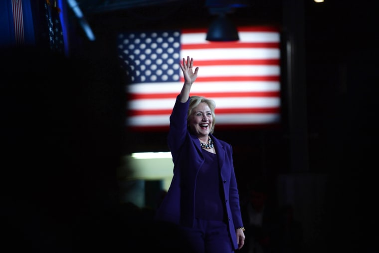 Democratic Presidential candidate Hillary Clinton takes the stage at the Jefferson Jackson Dinner at the Radisson Hotel on Nov. 29, 2015 in Manchester, N.H. (Photo by Darren McCollester/Getty)
