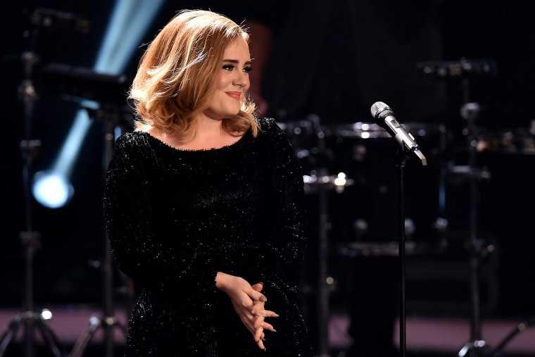 Adele attends an event on Dec. 6, 2015 in Cologne, Germany. (Photo by Sascha Steinbach/Getty)