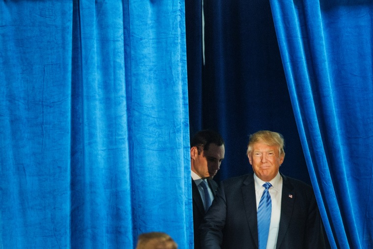 Republican presidential candidate Donald Trump arrives for a campaign event at Mississippi Valley Fairgrounds on Dec. 5, 2015 in Davenport, Iowa. (Photo by Scott Olson/Getty)