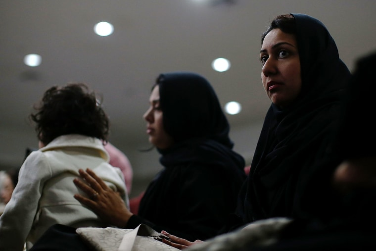 Muslim women look on during a prayer vigil for the victims of the San Bernardino shooting at Baitul Hameed Mosque on Dec. 3, 2015 in Chino, Calif. (Photo by Justin Sullivan/Getty)