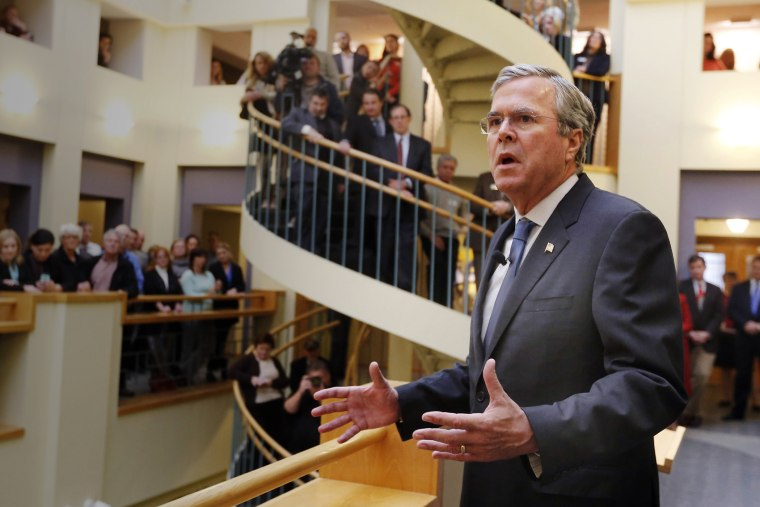 Republican presidential candidate former Florida Gov. Jeb Bush speaks during a campaign stop at the Devine Millimet Law Firm, Dec. 8, 2015, in Manchester, N.H. (Photo by Jim Cole/AP)