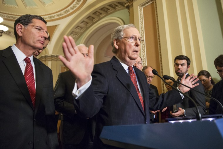 Without mentioning Donald Trump by name, Senate Majority Leader Mitch McConnell, R-Ky., denounced Trump's recent remarks about restricting Muslim travel during a news conference at the Capitol in Washington, Dec. 8, 2015. (Photo by J. Scott Applewhite/AP)