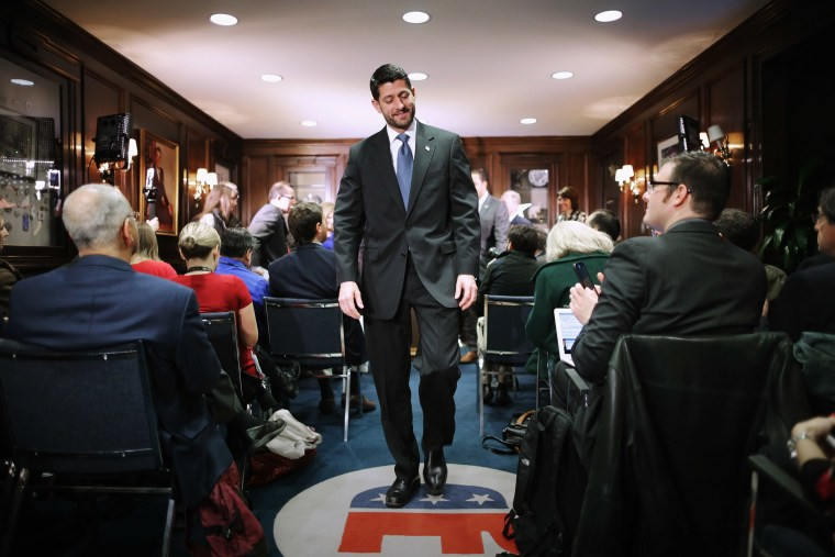 Speaker of the House Paul Ryan (R-WI) leaves a news briefing following the weekly Republican Conference meeting at the RNC headquarters on Capitol Hill, Dec. 8, 2015 in Washington, DC. (Photo by Chip Somodevilla/Getty)