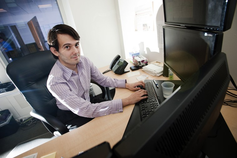 Martin Shkreli sits for a photograph in his office in New York on Aug. 10, 2011. (Photo by Paul Taggart/Bloomberg/Getty)