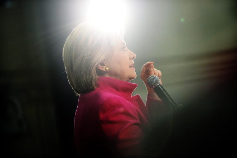 Democratic president candidate Hillary Clinton speaks at a town hall event at Woodbury School Dec. 8, 2015 in Salem, N.H. (Photo by Darren McCollester/Getty)