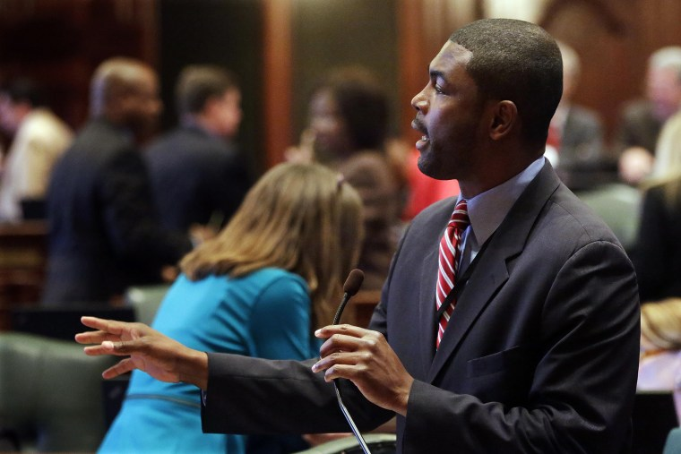 Illinois Rep. La Shawn Ford, D-Chicago, argues legislation while on the House floor during a session at the Illinois State Capitol, May 10, 2013 in Springfield, IL. (Photo by Seth Perlman/AP)