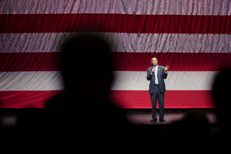 Republican presidential candidate Dr. Ben Carson speaks during a campaign event at Cobb Energy Center, Dec. 8, 2015, in Atlanta. (Photo by David Goldman/AP)