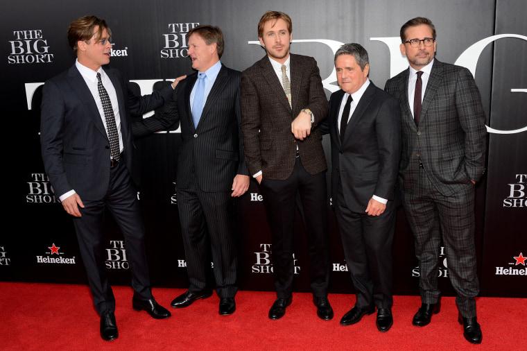 "Brad Pitt, Michael Lewis, Ryan Gosling, Brad Grey and Steve Carell attend ""The Big Short"" New York premiere at Ziegfeld Theater, Nov. 23, 2015. (Photo by Andrew Toth/FilmMagic/Getty)"