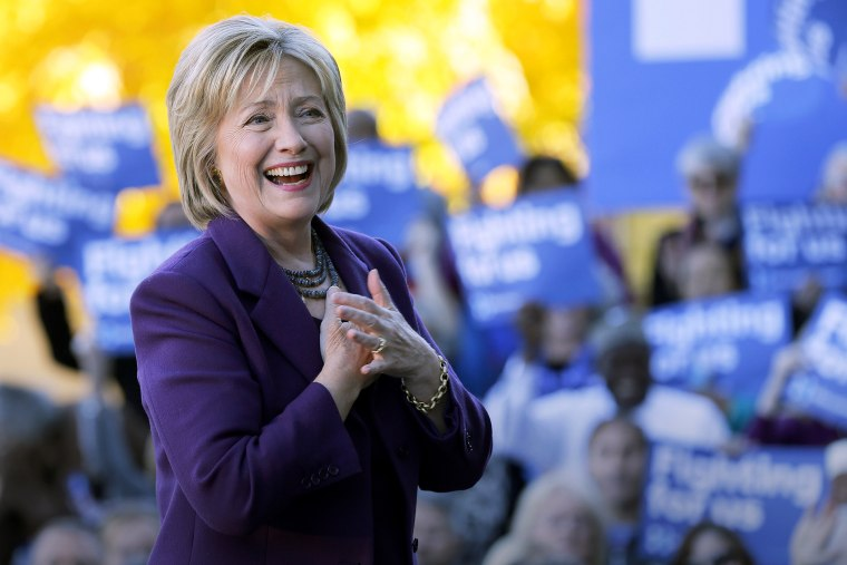 Democratic presidential candidate Hillary Rodham Clinton smiles to supporters, Nov. 9, 2015, in Concord, N.H. (Photo by Jim Cole/AP)