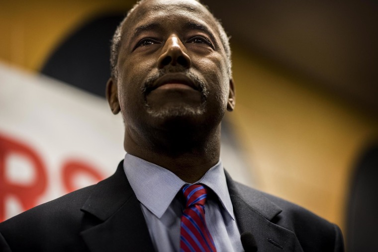 Republican Presidential candidate Dr. Ben Carson answers questions from a gathering of media after the 2020 Presidential Forum Justice Forum 2015 in Columbia, South Carolina on Nov. 21, 2015. (Photo by Melina Mara/The Washington Post/Getty)