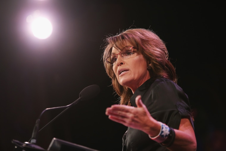 Former Alaska Governor Sarah Palin speaks to guests at the Iowa Freedom Summit on Jan. 24, 2015 in Des Moines, Iowa. (Photo by Scott Olson/Getty)