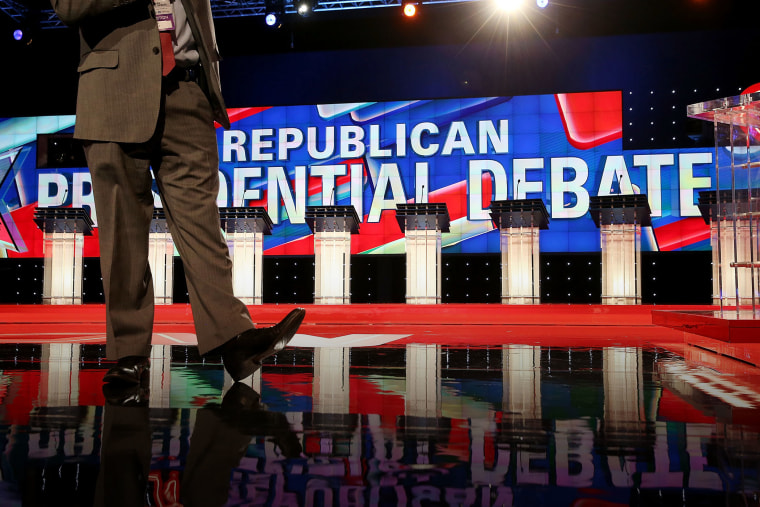 A view of the stage for the CNN Republican presidential debate at The Venetian Las Vegas on Dec. 15, 2015 in Las Vegas, Nev. (Photo by Justin Sullivan/Getty)