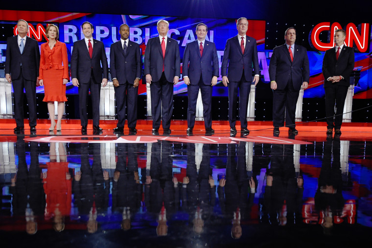 Republican presidential candidates take the stage during the CNN Republican presidential debate at the Venetian Hotel & Casino on Dec. 15, 2015, in Las Vegas. (Photo by Mark J. Terrill/AP)