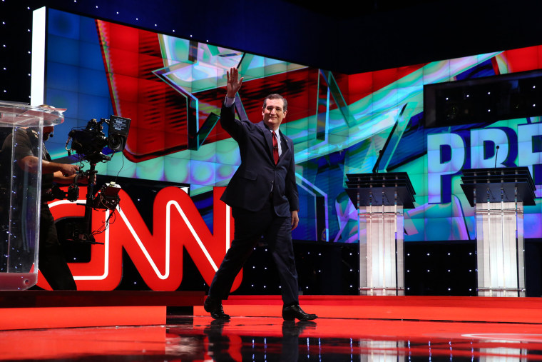 GOP candidate Ted Cruz is introduced during the Republican presidential debate hosted by CNN at The Venetian in Las Vegas, Nev., Dec. 15, 2015. (Photo by Ruth Fremson/NYT/ZUMA)