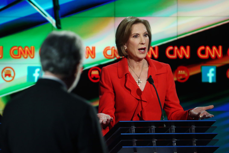 Republican presidential candidate Carly Fiorina during the CNN Republican presidential debate on Dec. 15, 2015 in Las Vegas, Nev. (Photo by Justin Sullivan/Getty)