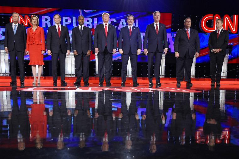 John Kasich, Carly Fiorina, Marco Rubio, Ben Carson, Donald Trump, Ted Cruz, Jeb Bush, Chris Christie, Rand Paul (Photo by Mark J. Terrill/AP)