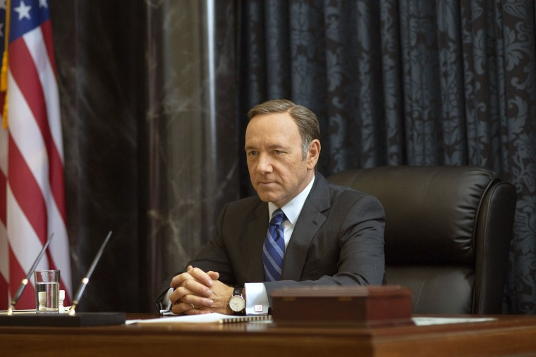 """This image released by Netflix shows Kevin Spacey as Francis Underwood in a scene from \""""House of Cards.\"""" (Photo by Nathaniel E. Bell/Netflix/AP)"""