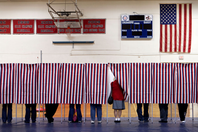 Voters in Manchester, N.H., on Election Day. (Photo by Kayana Szymczak/The Boston Globe/Getty)