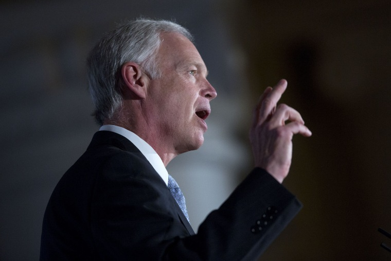 """Senator Ron Johnson, a Republican from Wisconsin, speaks during the Faith and Freedom Coalition's \""""Road to Majority\"""" legislative luncheon in Washington, D.C., June 18, 2015. (Photo by Andrew Harrer/Bloomberg/Getty)"""