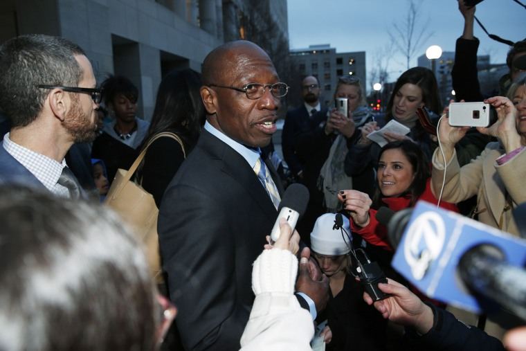 Surrounded by reporters, Clarence Moses-EL talks after being released from Denver County jail on Dec. 22, 2015, in Denver, Co. (Photo by David Zalubowski/AP)