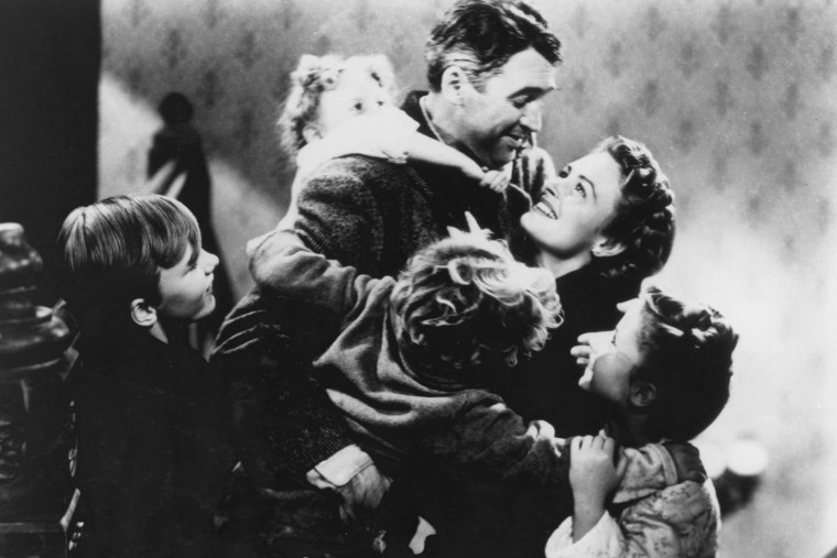 American actors James Stewart and Donna Reed star in the film 'It's a Wonderful Life', 1946. (Photo by RKO Pictures/Archive Photos/Getty)