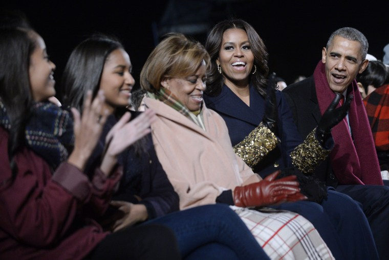 President Barack Obama and family attend the national Christmas tree lighting ceremony on the Ellipse south of the White House on Dec. 3, 2015 in Washington, DC. (Photo by Olivier Douliery/Pool/Getty)