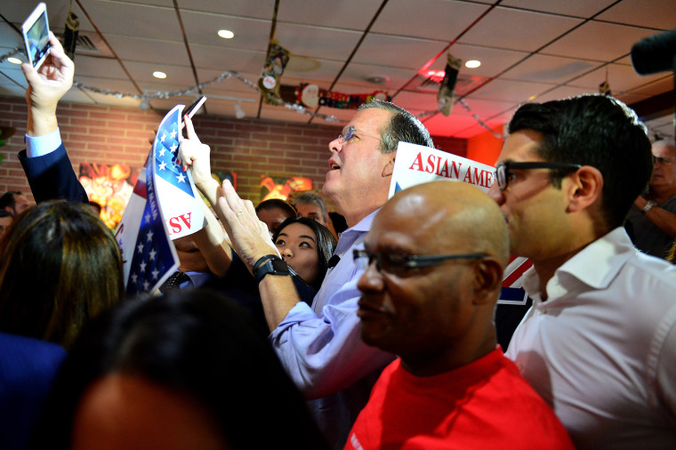 Republican presidential candidate and former Florida Governor Jeb Bush holds a meet and greet at Chico's Restaurant on Dec. 28, 2015 in Hialeah, Florida. (Photo by Johnny Louis/FilmMagic/Getty)
