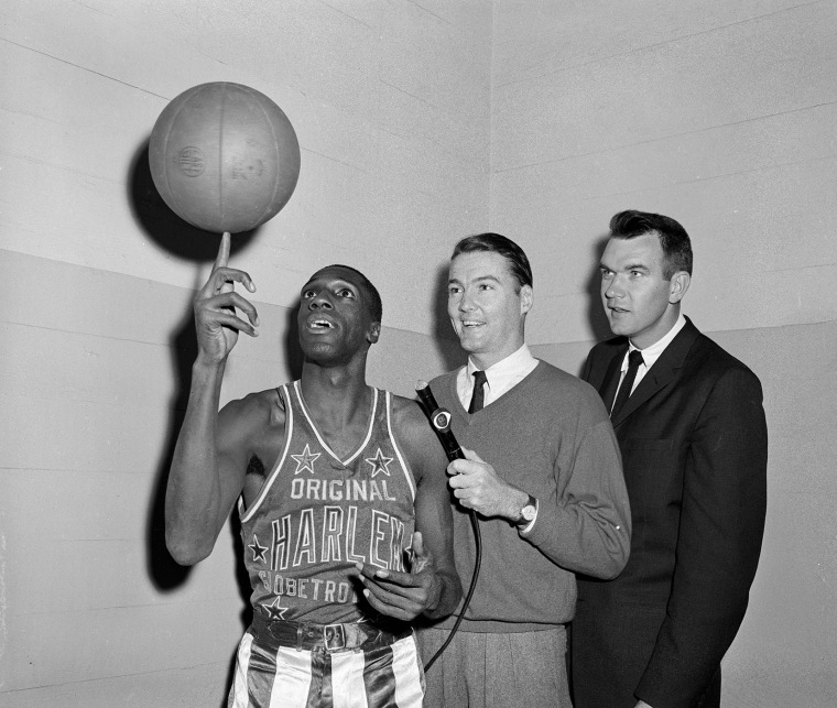 Meadowlark Lemon of the The Harlem Globetrotters being interviewed for CBS Sports Spectacular, Nov. 23, 1960. (Photo by CBS/Getty)