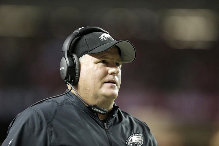 Philadelphia Eagles head coach Chip Kelly walks the sidelines during the first half of an NFL football game against the Atlanta Falcons, Sept. 14, 2015, in Atlanta, Ga. (Photo by Brynn Anderson/AP)