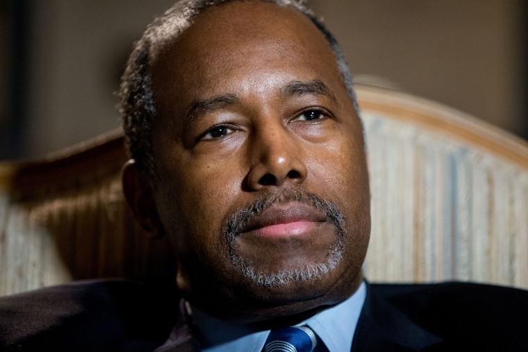 Republican presidential candidate Dr. Ben Carson pauses during an interview with The Associated Press in his home in Upperco, Md., Dec. 23, 2015. (Photo by Andrew Harnik/AP)