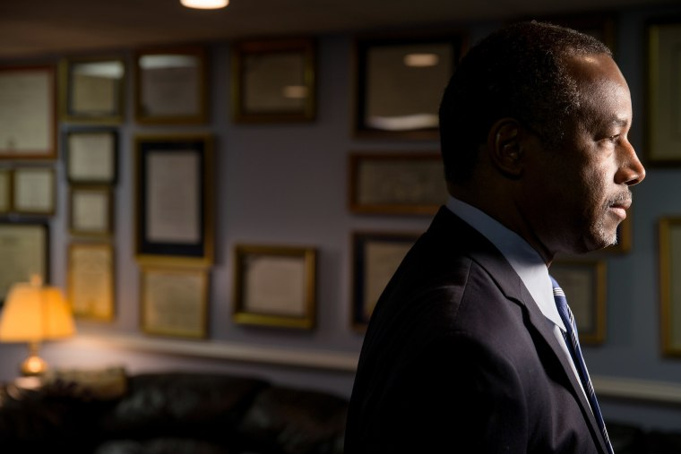 Republican presidential candidate Dr. Ben Carson awaits an interview in his home in Upperco, Md., Dec. 23, 2015. (Photo by Andrew Harnik/AP)
