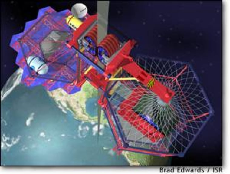 A close-up sketch of what a climber system might look like as it travels the space elevator from Earth.